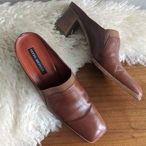 Chestnut Brown Leather Mules